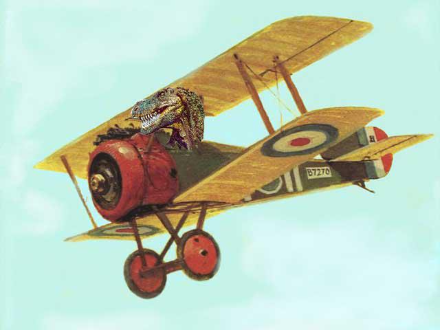Dinosaur in a Biplane