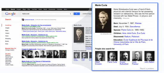 Marie Curie on Google's Knowledge Graph